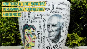 Image of a mug with famous signatures - to describe concept Use Live Signatures to Personalize Web Pages & Posts