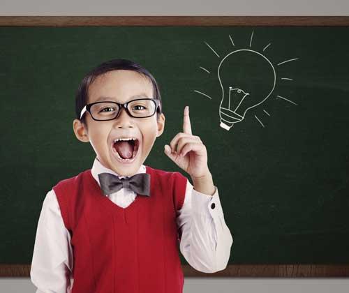 boy with questions & a light-bulb bright idea