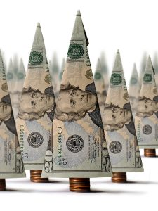 Origami dollar bill forest of money trees