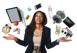 african american woman juggling business and family tasks