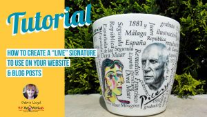 wp-webworks how to create a live signature tutorial cover image - mug with famous people & their signatures